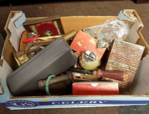 Box of collectables, incl. lighter, stamps & others