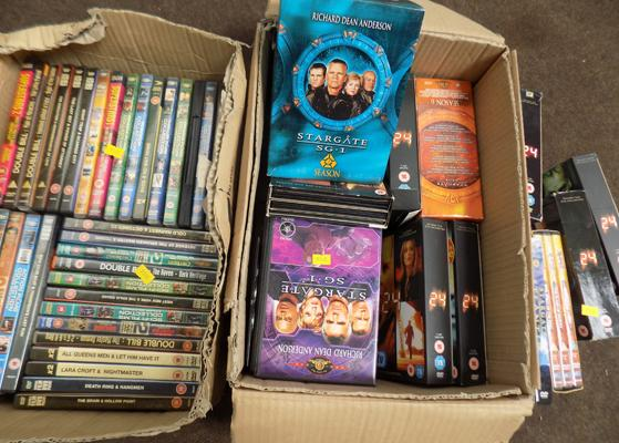 Box of DVD box sets, incl. 24 Stargate SG-1 box of DVDs