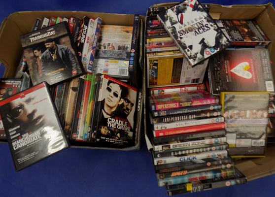 Two boxes of DVDs