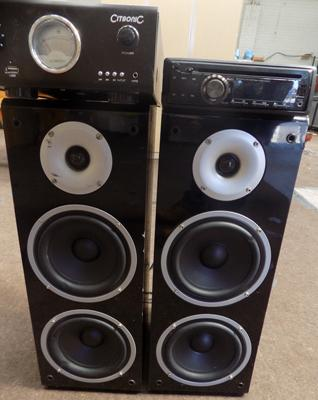Mixed selection of electricals, incl. speakers, amps & car stereo