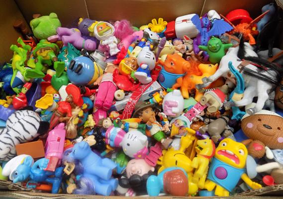 Box of children toys and figures