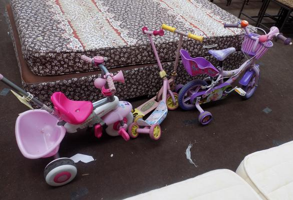 Selection of kids bikes and scooters