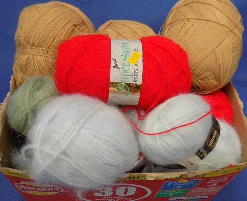 Selection of various balls of wool