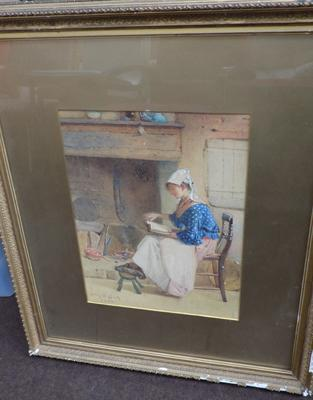 Framed picture of a lady reading, signed by the artist, 1882