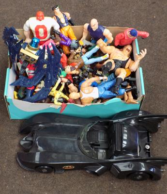 Box of figures & Bat Mobile