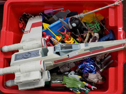 Box of toys, incl. X-Wing & others