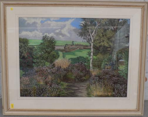 "Pastel - 'Quarryedge, Haggwood' by L. Rangley, 26"" by 21"", incl. frame"