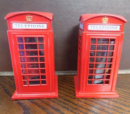 Pair of small cast iron telephone money boxes