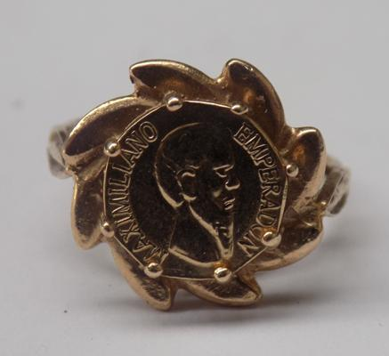 Mexican gold coin in 9ct gold ring