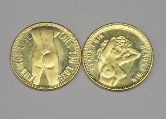 2x Erotica coins 'Heads or Tails'