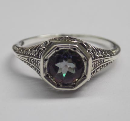 925 silver filigree mystic topaz solitaire ring - N1/2