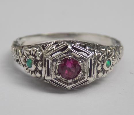 925 silver vintage style ruby and opal ring - N1/2