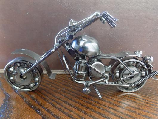 Novelty motorbike made from nuts/bolts etc...