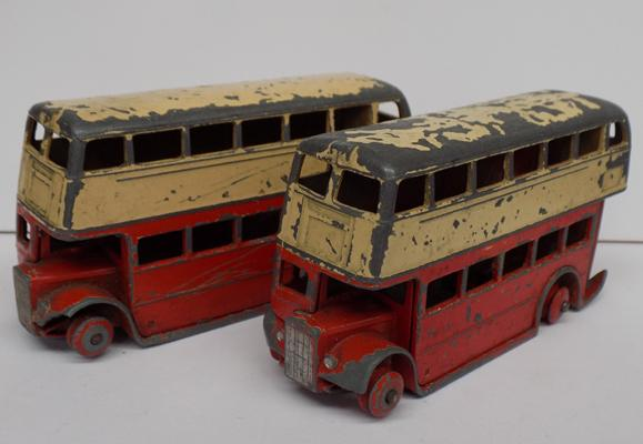 Two vintage Dinky toys - double decker buses, playworn with original paint