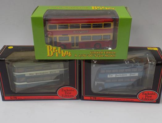 Three boxed diecast buses