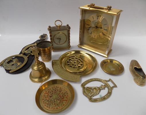 Tray of brass items incl. 2 carriage clocks