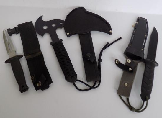 2 Combat style knives and throwing axe