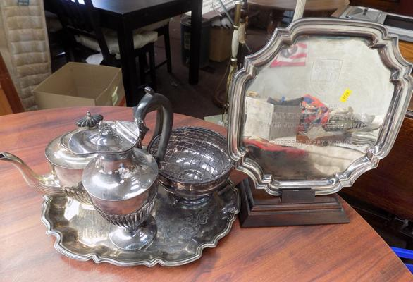 Five pieces of silver plate, incl. University of Bradford service award