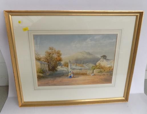 J.Smith watercolour of a country village scene - dated 1862