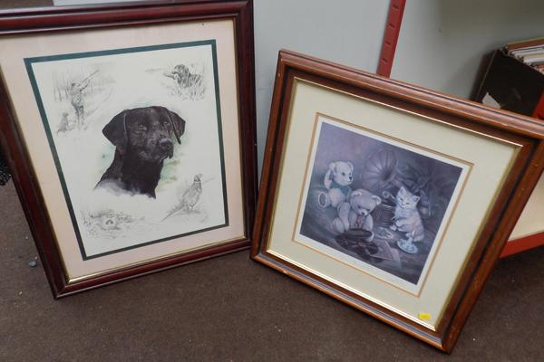 Framed signed drawing by Phil Sly & another signed print 'Family Favourites'