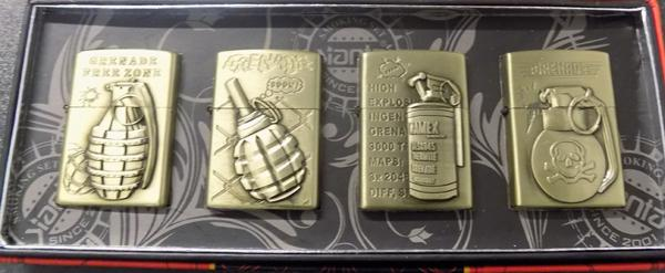 4 Oil lighters with grenade themes