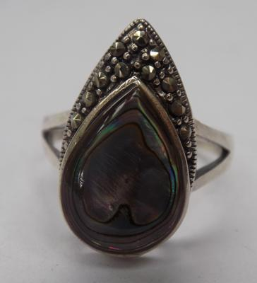 Silver paua shell & marcasite ring