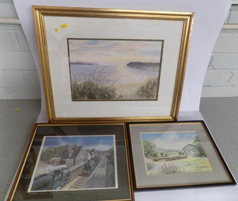 2 watercolours and a railway scene print