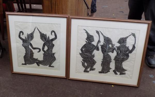2 large Thai figure temple rubbings charcoal on rice paper 65 x 63cm and 74 x 65cm approx.