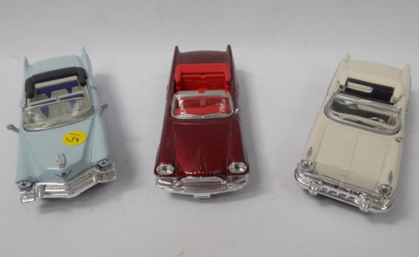 Three precision diecast, 1940's style open top cars - 1/43 scale, mint condition