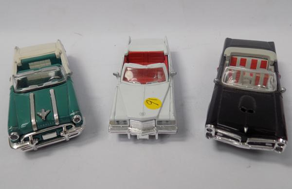 Three precision diecast 1940's style open top cars, 1/43 scale, mint condition