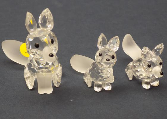 Swarovski crystal fox family with frosted tails