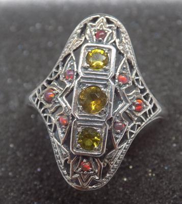 925 silver vintage style citrene/ opal filigree ring - size Q