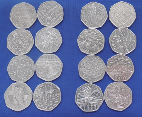 Good selection of 50p coins-collectors coins. Sold in aid of Alzheimer's charity