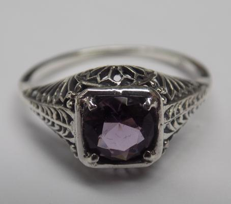 925 silver vintage style amethyst solitaire ring - L1/2