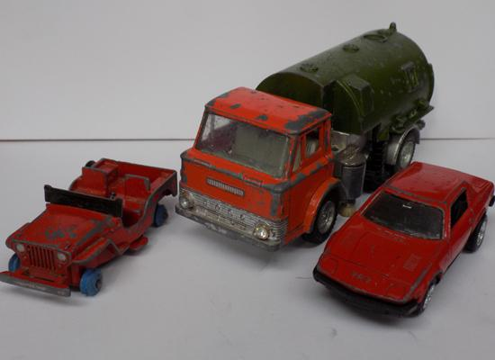 Three vintage Dinky toys, with original paint