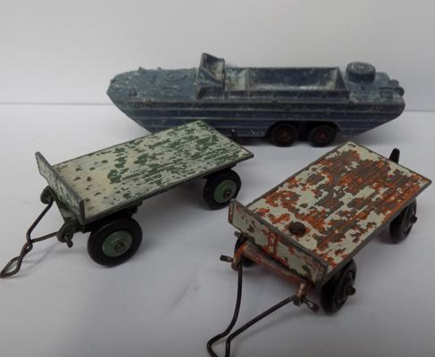 Vintage Dinky toy (original paint) + two Dinky trailers (original paint)