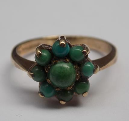 9ct gold vintage turquoise cluster ring - size M