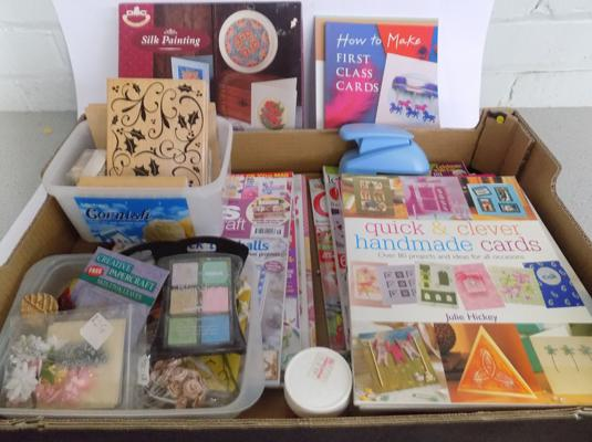 Box of card crafting items incl. stamps, punch, paints etc. and books and magazines