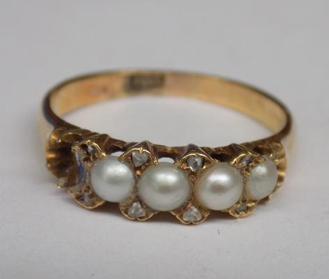 Vintage 18ct gold real pearl ring, one stone missing, approx. 3.45 grams