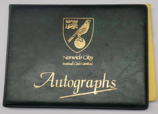Norwich City football club autograph book containing players autographs
