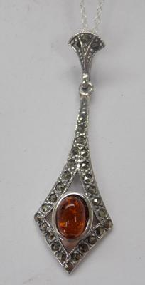 Silver amber & marcasite pendant on silver chain