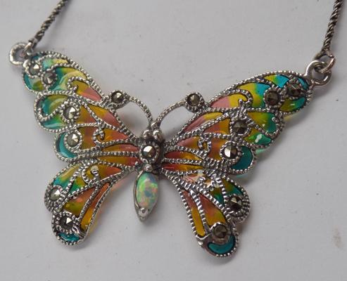 Silver Opal & Marcasite butterfly necklace