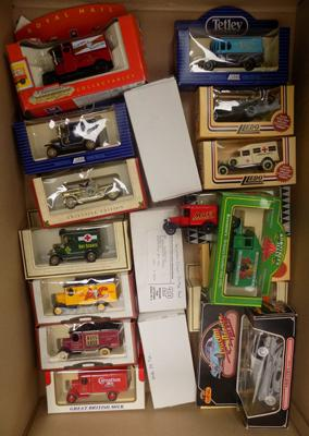 Box of 20 boxed diecast cars & vans