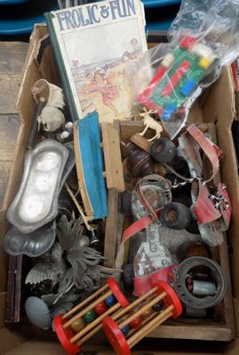Box of vintage collectables incl. 1950's roller skates, brass, early toys etc.