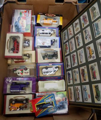 Box of diecast incl. Corgi and framed set of vintage tea cards