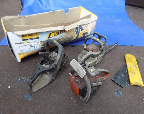 Box of chainsaws, incl. Stihl - spares or repairs