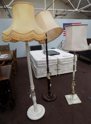 Set of 3 standard lamps-one cream, one onyx and one oak