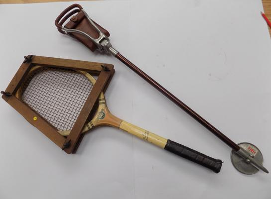 Shooting stick and tennis racquet