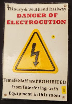 Cast iron Tilbury & Southern 'Danger of Electrocution' sign