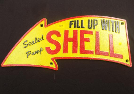 Cast iron ' Fill up with Shell' sign